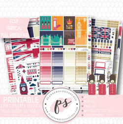 Hello London Full Weekly Kit Printable Planner Stickers (for use with ECLP Vertical) - Plannerologystudio