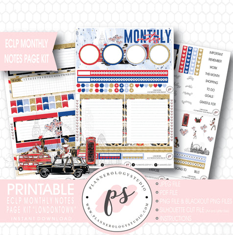 Londontown Monthly Notes Page Kit Digital Printable Planner Stickers (for use with ECLP) - Plannerologystudio