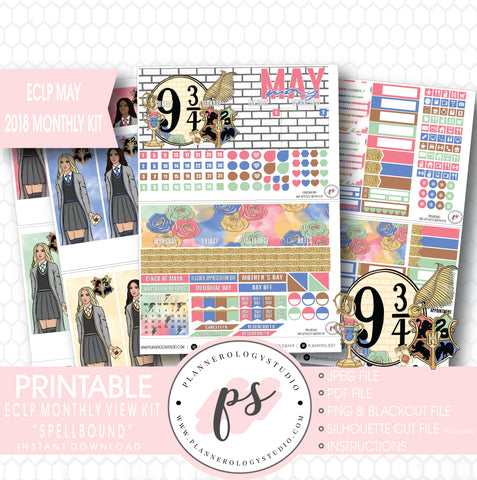 Spellbound (Harry Potter) May 2018 Monthly View Kit Digital Printable Planner Stickers (for use with Erin Condren) - Plannerologystudio