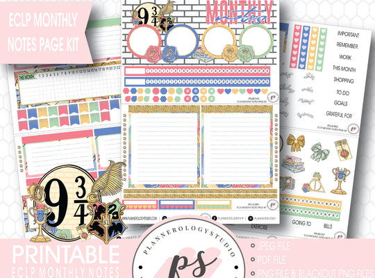 Spellbound (Harry Potter) Monthly Notes Page Kit Digital Printable Planner Stickers (for use with ECLP) - Plannerologystudio