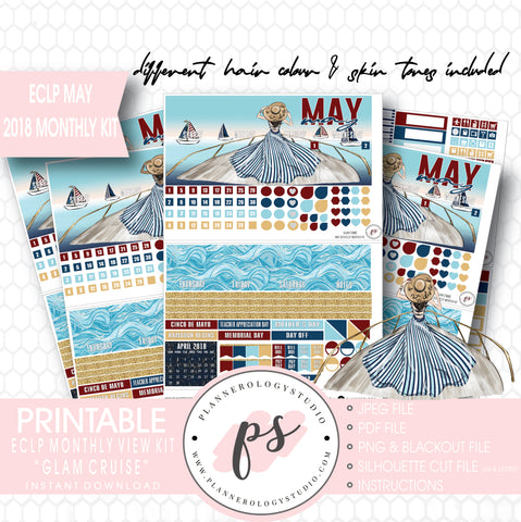 Glam Cruise May 2018 Monthly View Kit Digital Printable Planner Stickers (for use with Erin Condren) - Plannerologystudio