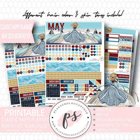 Glam Cruise May 2018 Monthly View Kit Digital Printable Planner Stickers (for use with Classic Happy Planner) - Plannerologystudio