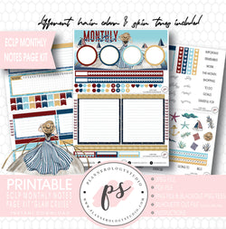 Glam Cruise Monthly Notes Page Kit Digital Printable Planner Stickers (for use with ECLP) - Plannerologystudio