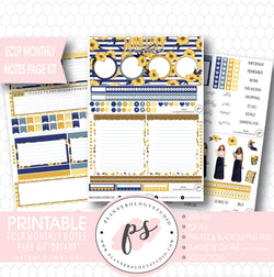 Dreams Monthly Notes Page Kit Digital Printable Planner Stickers (for use with ECLP) - Plannerologystudio