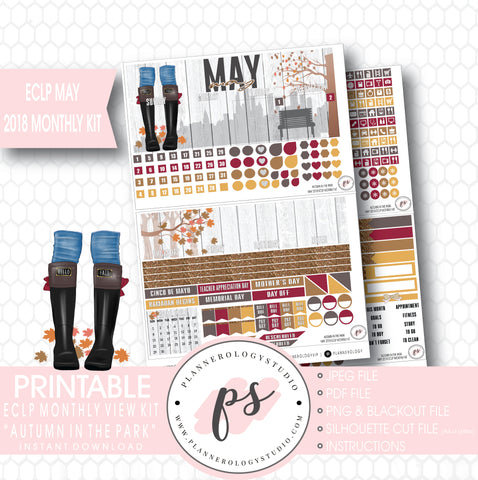 Autumn in the Park May 2018 Monthly View Kit Digital Printable Planner Stickers (for use with Erin Condren) - Plannerologystudio