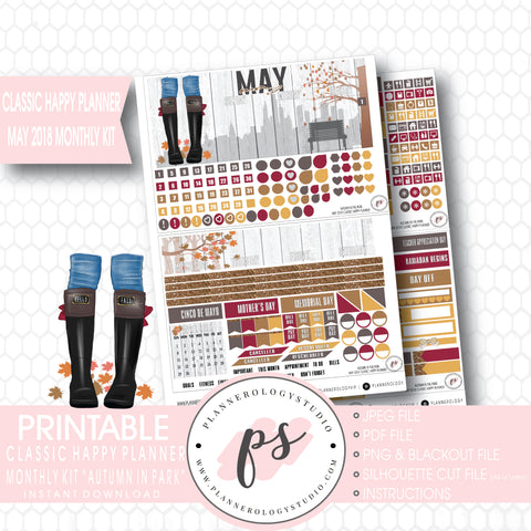 Autumn in the Park May 2018 Monthly View Kit Digital Printable Planner Stickers (for use with Classic Happy Planner) - Plannerologystudio