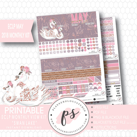Swan Lake (Mother's Day) May 2018 Monthly View Kit Digital Printable Planner Stickers (for use with Erin Condren) - Plannerologystudio