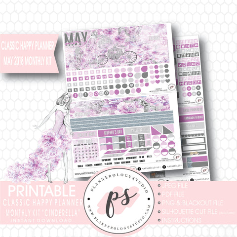 Cinderella May 2018 Monthly View Kit Digital Printable Planner Stickers (for use with Classic Happy Planner) - Plannerologystudio