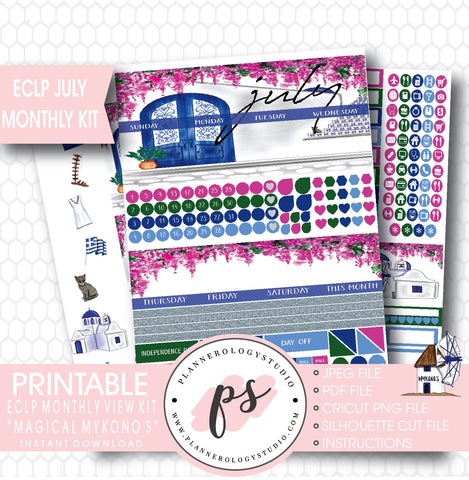 """Magical Mykonos"" July 2017 Monthly View Kit Printable Planner Stickers (for use with ECLP) - Plannerologystudio"