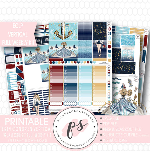 Glam Cruise Full Weekly Kit Printable Planner Stickers (for use with ECLP Vertical) - Plannerologystudio