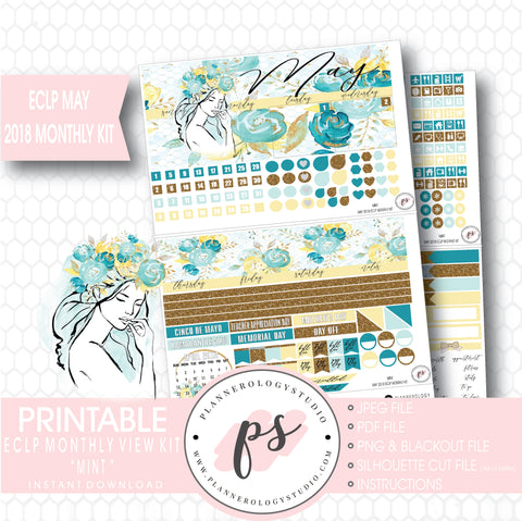 Mint May 2018 Monthly View Kit Digital Printable Planner Stickers (for use with Erin Condren) - Plannerologystudio