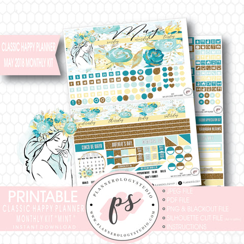 Mint May 2018 Monthly View Kit Digital Printable Planner Stickers (for use with Classic Happy Planner) - Plannerologystudio