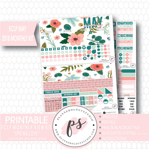 Spring Love May 2018 Monthly View Kit Digital Printable Planner Stickers (for use with Erin Condren) - Plannerologystudio