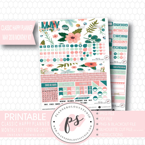 Spring Love May 2018 Monthly View Kit Digital Printable Planner Stickers (for use with Classic Happy Planner) - Plannerologystudio