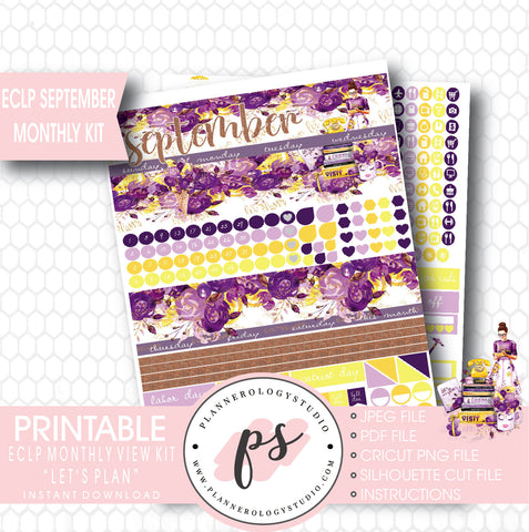"""Let's Plan"" September 2017 Monthly View Kit Printable Planner Stickers (for use with ECLP) - Plannerologystudio"