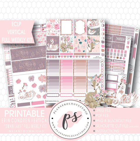 Swan Lake Mother's Day Full Weekly Kit Printable Planner Stickers (for use with ECLP Vertical) - Plannerologystudio