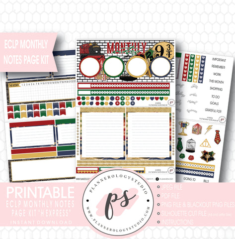 H Express (Harry Potter) Monthly Notes Page Kit Digital Printable Planner Stickers (for use with ECLP) - Plannerologystudio