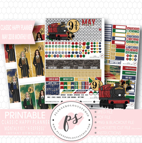 H Express (Harry Potter) May 2018 Monthly View Kit Digital Printable Planner Stickers (for use with Classic Happy Planner) - Plannerologystudio