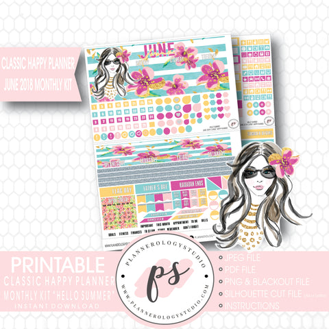 Hello Summer June 2018 Monthly View Kit Digital Printable Planner Stickers (for use with Classic Happy Planner) - Plannerologystudio