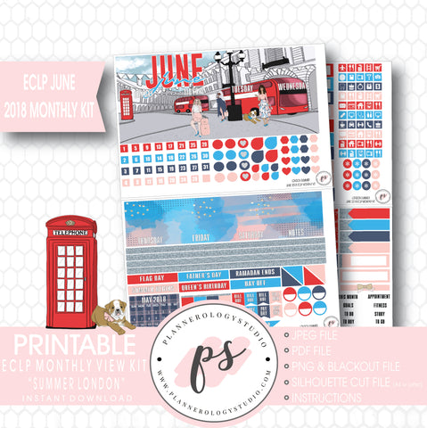 London Summer June 2018 Monthly View Kit Digital Printable Planner Stickers (for use with Erin Condren) - Plannerologystudio