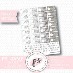 Marble Texture Date Cover Digital Printable Planner Stickers (for ECLP Vertical) - Plannerologystudio