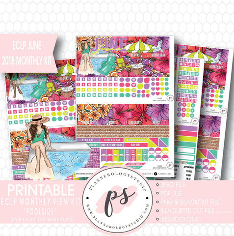 Poolside Summer June 2018 Monthly View Kit Digital Printable Planner Stickers (for use with Erin Condren) - Plannerologystudio