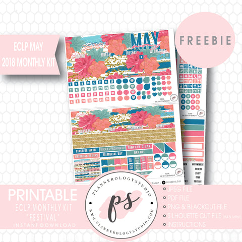 Festival ECLP Erin Condren May 2018 Monthly Kit Digital Printable Planner Stickers (PDF/JPG/PNG/Silhouette Cut File Freebie) - Plannerologystudio
