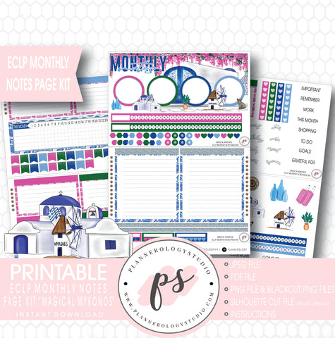 Magical Mykonos Monthly Notes Page Kit Digital Printable Planner Stickers (for use with ECLP) - Plannerologystudio
