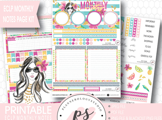 Hello Summer Monthly Notes Page Kit Digital Printable Planner Stickers (for use with ECLP) - Plannerologystudio
