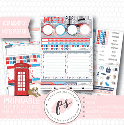 London Summer Monthly Notes Page Kit Digital Printable Planner Stickers (for use with ECLP) - Plannerologystudio