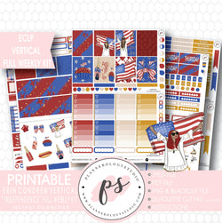 Independence Day 4th July Full Weekly Kit Printable Planner Stickers (for use with ECLP Vertical) - Plannerologystudio