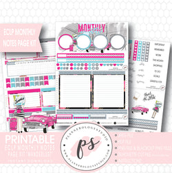 Wanderlust Monthly Notes Page Kit Digital Printable Planner Stickers (for use with ECLP) - Plannerologystudio