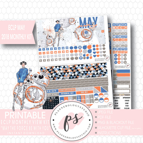 May the Force Be With You (Star Wars) May 2018 Monthly View Kit Digital Printable Planner Stickers (for use with Erin Condren) - Plannerologystudio
