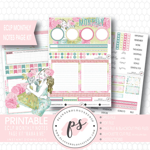 Mama & Me (Mother's Day) Monthly Notes Page Kit Digital Printable Planner Stickers (for use with ECLP) - Plannerologystudio