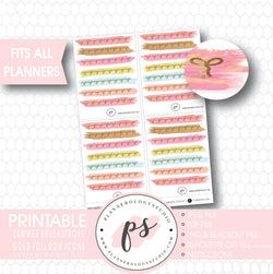 Summer Brushstroke Gold Foil Texture Bow Icons Digital Printable Planner Stickers - Plannerologystudio