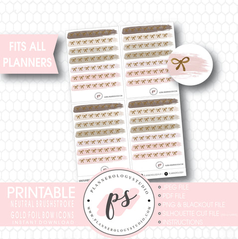 Neutral Brushstroke Gold Foil Texture Bow Icons Digital Printable Planner Stickers - Plannerologystudio