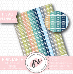 """Frozen"" Rent Due Flags Printable Planner Stickers - Plannerologystudio"