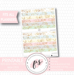 Rose Gold Floral Pattern Bow Icon Washi Strip Digital Printable Planner Stickers - Plannerologystudio