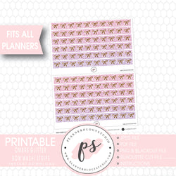 Ombre Glitter Pattern Bow Icon Washi Strip Digital Printable Planner Stickers - Plannerologystudio