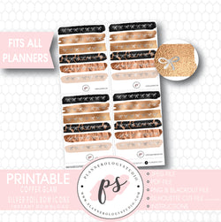 Copper Glam Brushstroke Silver Foil Bow Icons Digital Printable Planner Stickers - Plannerologystudio