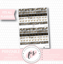Marble Pattern Bow Icon Washi Strip Digital Printable Planner Stickers - Plannerologystudio