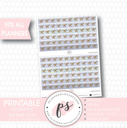 Holographic Pattern Bow Icon Washi Strip Digital Printable Planner Stickers - Plannerologystudio