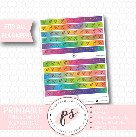 Rainbow Gradient Pattern Bow Icon Washi Strip Digital Printable Planner Stickers - Plannerologystudio
