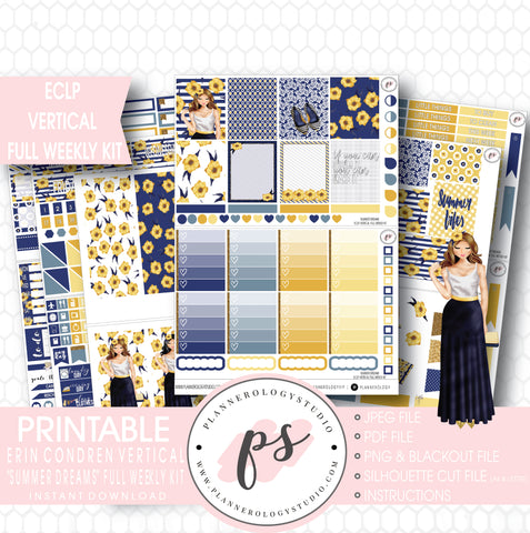 Summer Dreams Full Weekly Kit Printable Planner Stickers (for use with ECLP Vertical) - Plannerologystudio