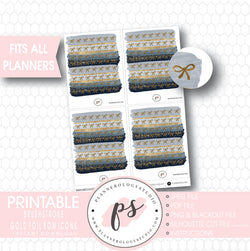 Watercolour Brushstroke Gold Foil Texture Bow Icons Digital Printable Planner Stickers - Plannerologystudio