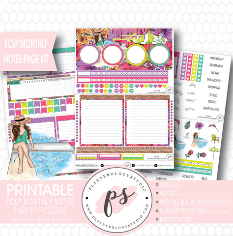 Poolside Monthly Notes Page Kit Digital Printable Planner Stickers (for use with ECLP) - Plannerologystudio