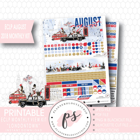 Londontown August 2018 Monthly View Kit Digital Printable Planner Stickers (for use with Erin Condren) - Plannerologystudio
