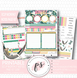 Lush Summer Monthly Notes Page Kit Digital Printable Planner Stickers (for use with ECLP) - Plannerologystudio