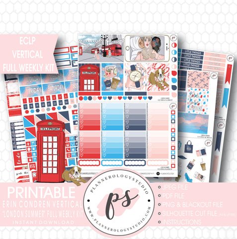London Summer Full Weekly Kit Printable Planner Stickers (for use with ECLP Vertical) - Plannerologystudio