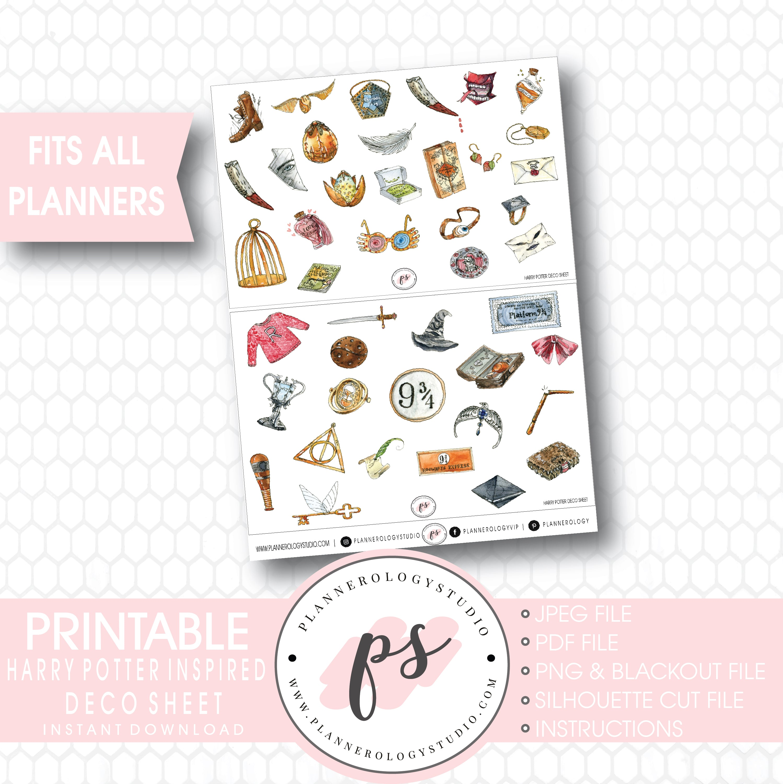 photo relating to Printable Sticker Sheet identify Harry Potter Encouraged Clipart Deco Sheet Electronic Printable Planner Stickers .